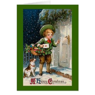 """""""Anybody Home ?"""" Vintage Christmas Card"""
