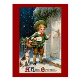 """""""Anybody Home ?"""" Vintage Christmas Postcard"""
