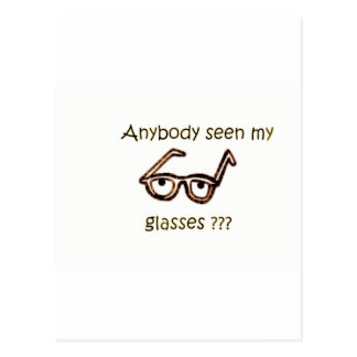 Anybody seen my glasses??? Funny Products Postcard