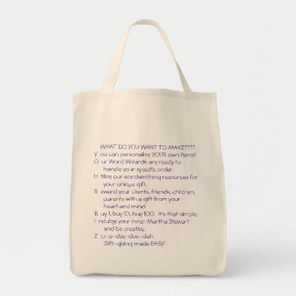ANYONE, ANYTHING ANY AMOUNT!!! GROCERY TOTE BAG