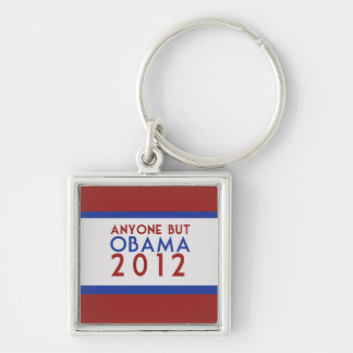 Anyone but Obama 2012 Silver-Colored Square Keychain