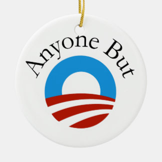 Anyone But Obama w/Logo Ceramic Ornament