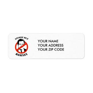 Anyone but Romney Return Address Label