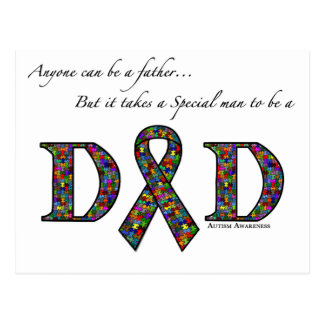 Anyone can be a father...autism postcard