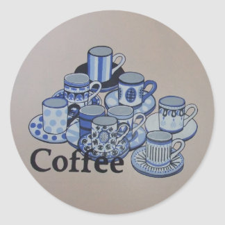 Anyone for coffee classic round sticker