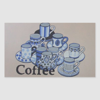 Anyone for coffee rectangular stickers