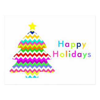 Anything But Gray Chevron Christmas Tree Holiday Postcard