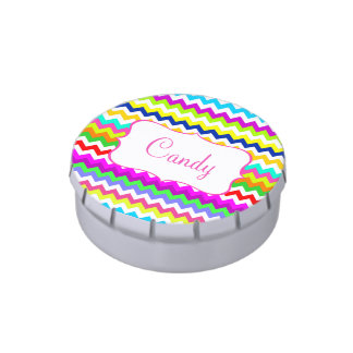 Anything But Gray Chevron Custom Name Jelly Belly Candy Tins
