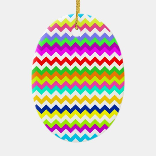 Anything But Gray Chevron Stripes Ceramic Ornament