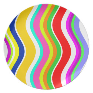 Anything But Gray With Curves Melamine Plate