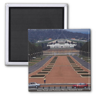 Anzac Parade and Parliament House, Canberra, Austr 2 Inch Square Magnet