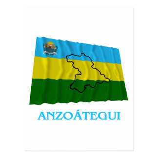 Anzoátegui Waving Flag with Name Postcard