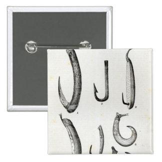 Anzuelos de prehistórico y de incivilizado pin cuadrada 5 cm