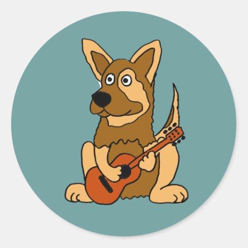 AO- German Shepherd Puppy Playing Guitar Cartoon Classic Round Sticker