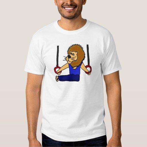 AO- Lion Gymnast on the Rings Cartoon Shirt