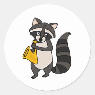 AO- Raccoon Playing Saxophone Cartoon Classic Round Sticker