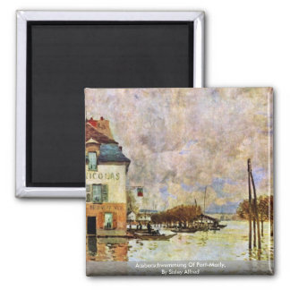 Ãœberschwemmung Of Port-Marly,  By Sisley Alfred 2 Inch Square Magnet