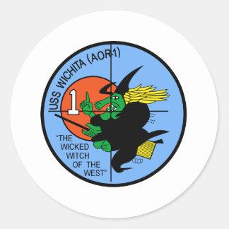 AOR-1 USS WICHITA NAVAL Fleet Oiler Repair Ship Classic Round Sticker