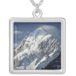 Aoraki Mount Cook, Mackenzie Country, South 2 Square Pendant Necklace