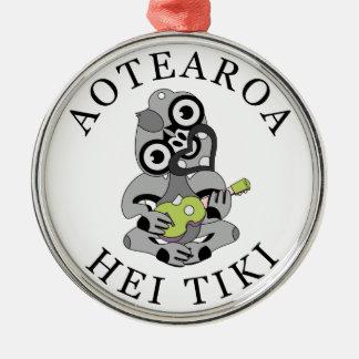 Aotearoa Hei Tiki with green ukulele Metal Ornament