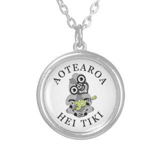Aotearoa Hei Tiki with green ukulele Silver Plated Necklace
