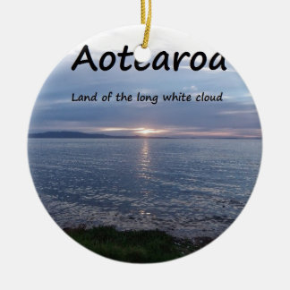 Aotearoa Land of the Long White Cloud Double-Sided Ceramic Round Christmas Ornament