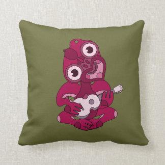 Aotearoa rosado Hei Tiki con el ukulele verde Cojín