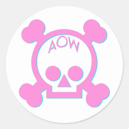 AOW Pink Skull Classic Round Sticker