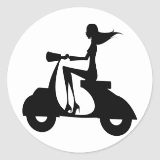 AP028 Girl Scooter Classic Round Sticker