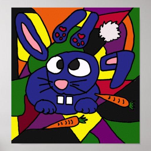 AP- Abstract Art Bunny Rabbit Poster