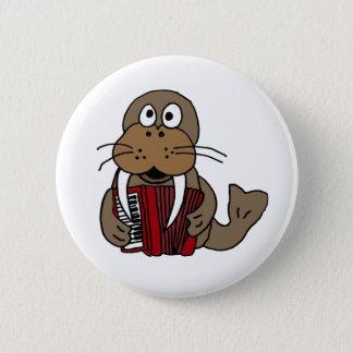 AP- Funny Walrus Playing Accordion Cartoon Button