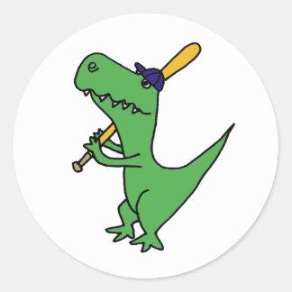 AP- T-rex Dinosaur Playing Baseball Round Stickers