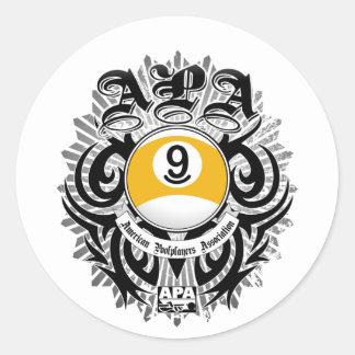 APA 9 Ball Gothic Design Classic Round Sticker