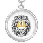 APA 9 Ball Gothic Design Round Pendant Necklace