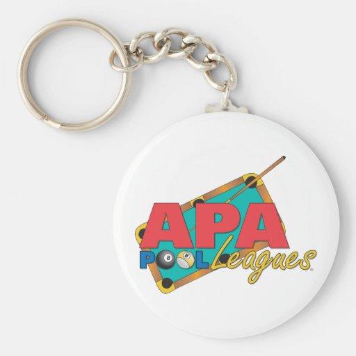 APA Pool Leagues Basic Round Button Keychain