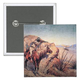 Apache Ambush (oil on canvas) 2 Inch Square Button