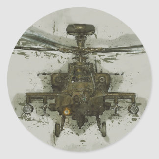 Apache Attack Helicopter Classic Round Sticker