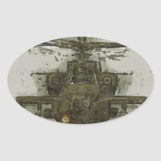 Apache Attack Helicopter Oval Sticker