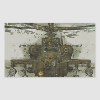 Apache Attack Helicopter Rectangular Sticker