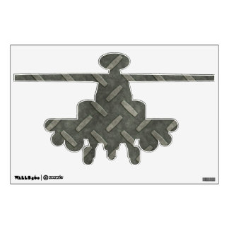 Apache Attack Helicopter With Diamond Plate Steel Wall Sticker