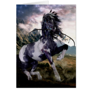 Apache Blue Painted Horse Greeting Card