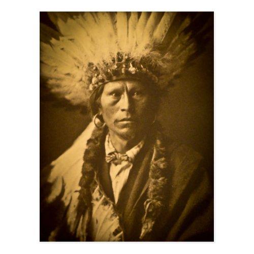 Apache Chief Garfield Indian Vintage Postcard