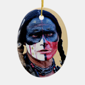 Apache Double-Sided Oval Ceramic Christmas Ornament