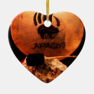 Apache Drum Double-Sided Heart Ceramic Christmas Ornament