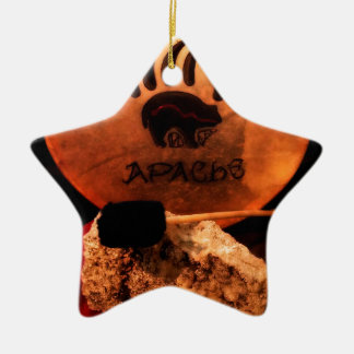 Apache Drum Double-Sided Star Ceramic Christmas Ornament