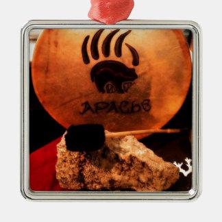 Apache Drum Square Metal Christmas Ornament