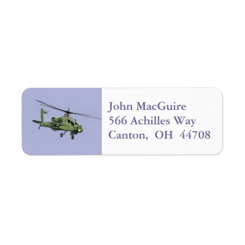 Apache Helicopter address label