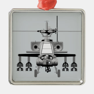 Apache Helicopter - Head-On Metal Ornament