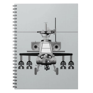 Apache Helicopter - Head-On Spiral Notebook