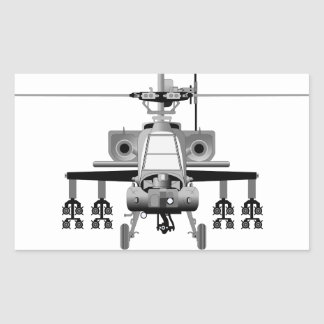 Apache Helicopter - Head-On Rectangular Sticker